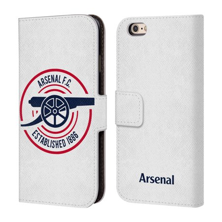 OFFICIAL ARSENAL FC 2018/19 CREST AND GUNNERS LOGO LEATHER BOOK WALLET CASE COVER FOR APPLE IPHONE PHONES