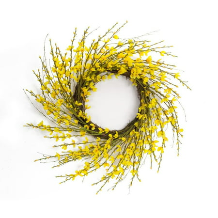 Light Yellow Forsythia Wreath - Melrose International 20 in. Forsythia Floral Wreath