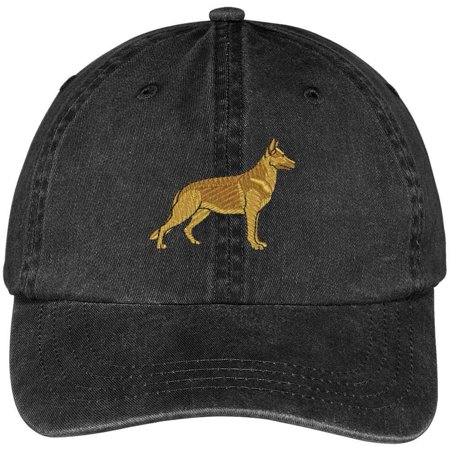 Trendy Apparel Shop German Shepherd Embroidered Dog Theme Low Profile Dad Hat Cotton Cap - Black
