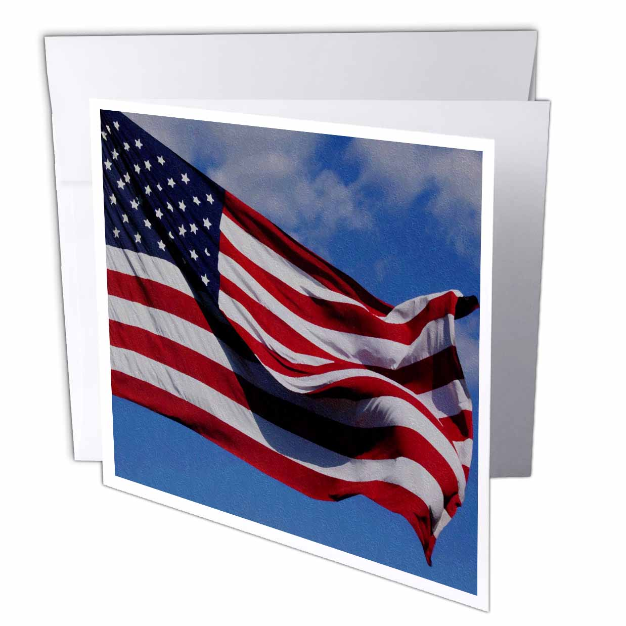 3dRose Patriotic American Flag Oil Painting, Greeting Cards, 6 x 6 inches, set of 12