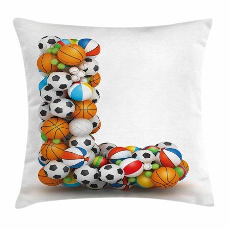 Letter L Throw Pillow Cushion Cover, Basketball Football Volleyball Tennis Athleticism Teamplay Motivation Theme Print, Decorative Square Accent Pillow Case, 16 X 16 Inches, Multicolor, by Ambesonne](Cool Basketball Themes)