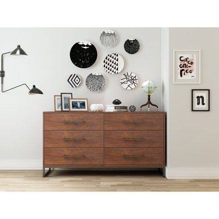 Mainstays Metal and Wood 6 Drawers Dresser in Reclaimed Cherry Finish