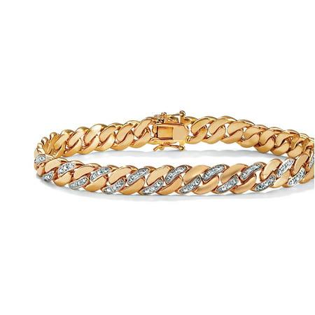 Men's Diamond Accent Curb-Link Bracelet 18k Yellow Gold-Plated 8.5