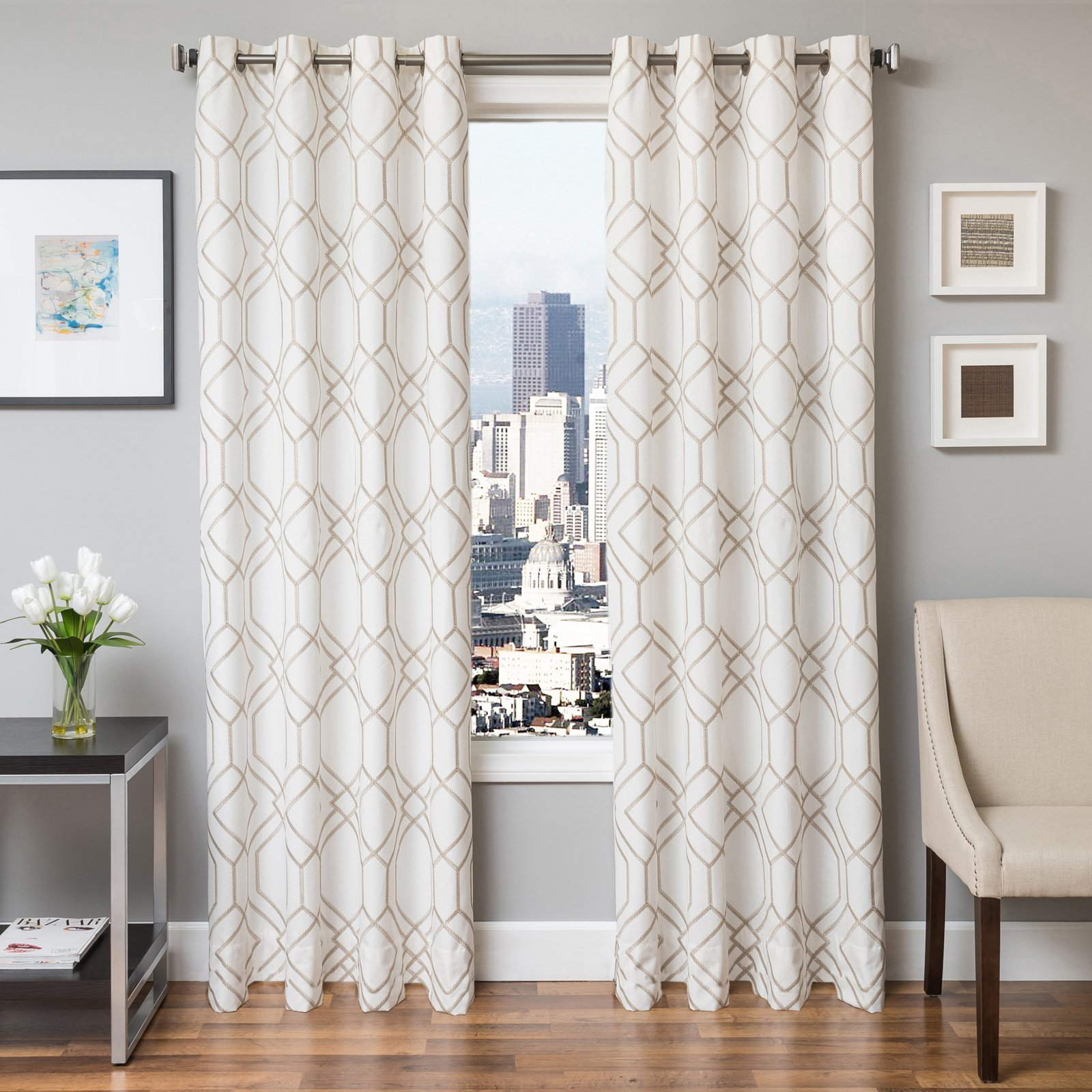 Softline Quincy Embroidered Grommet Top Curtain Panel