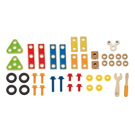 Hape Wooden 42 Piece Toddler Colorful Blocks Basic Builder Play Set for Kids 3+