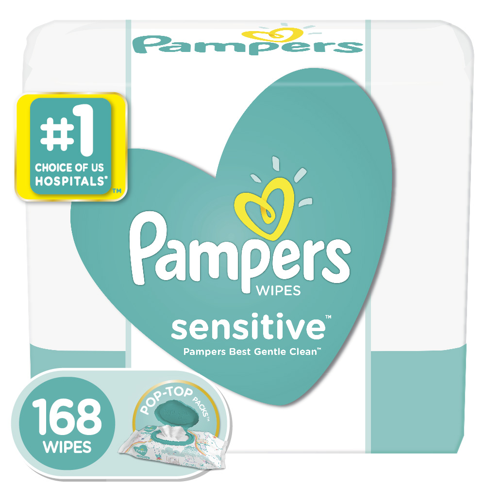 Pampers Sensitive Baby Wipes, 3X Pop-Top Packs, 168 ct