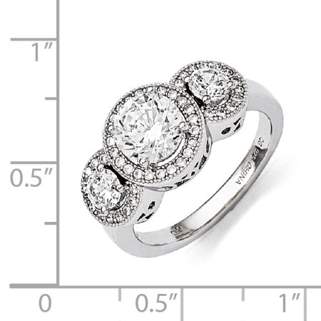 Sterling Silver & CZ Brilliant Embers Ring Size 8 - image 1 de 3