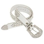 Womens Genuine Leather Round Crystal Rhinestone Studded Fashion Belt