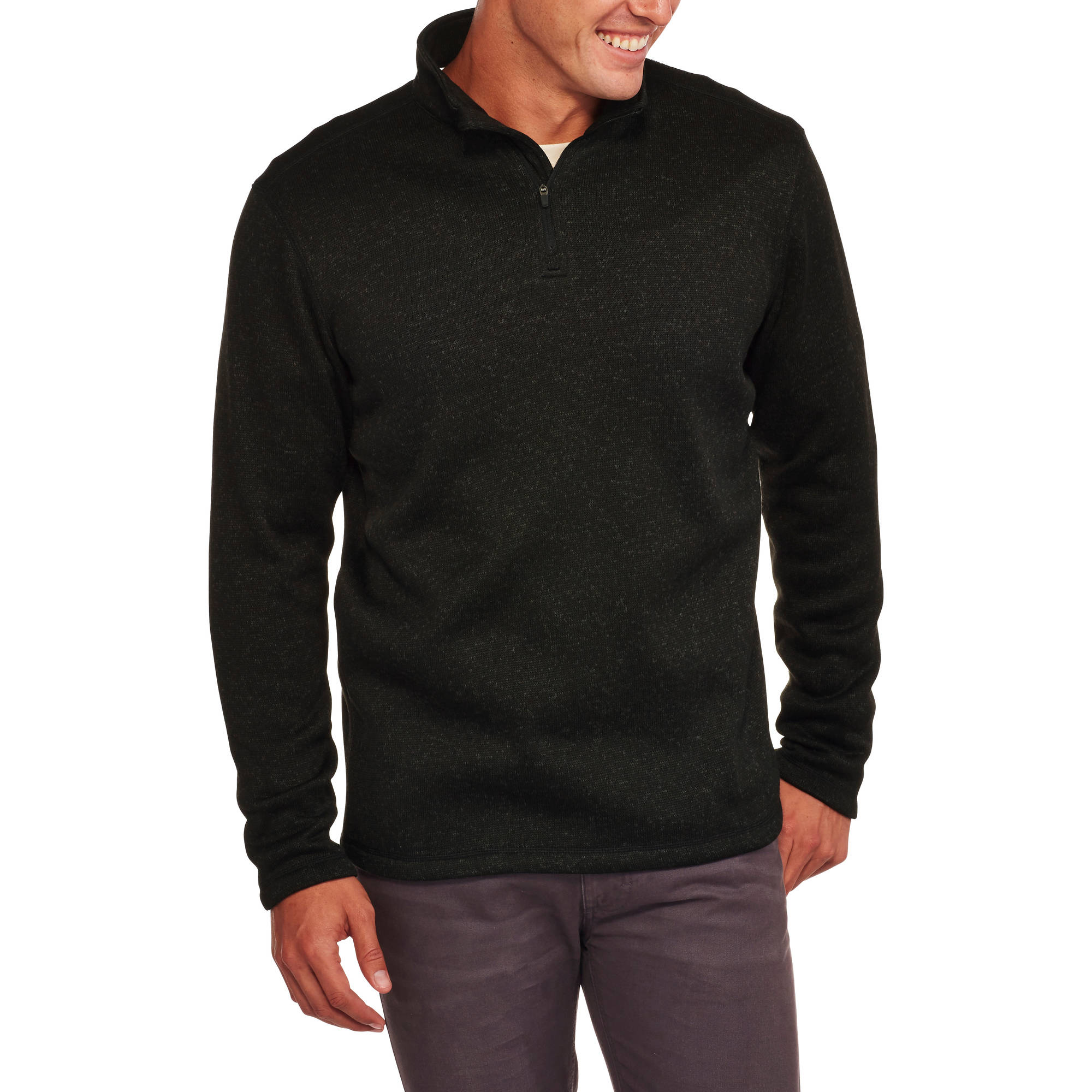 Faded Glory Men's 1/4 Zip Pullover Sweater - Walmart.com