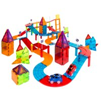 Best Choice Products 212-Piece Kids 3D Magnetic Tile Car Race Track STEM Learning & Building Toy Set w/ 2 Light-Up Cars