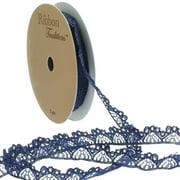 "3/8"" Vintage French Lace Ribbon Trim Navy 5yd"