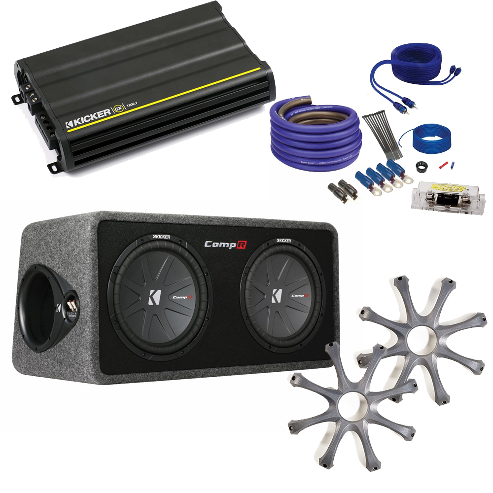 """Kicker CompR Dual 12"""" package with Kicker CX1200.1 1200 watt monoblock, grilles, and wiring kit."""