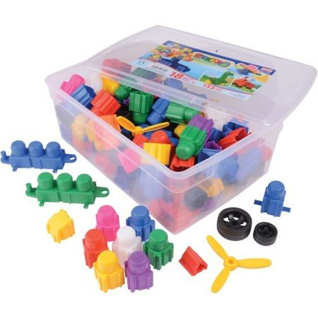 Jr. Builder Set - 133 Piece Multi Color Junior Sized Blocks in Tote Box, 14.85
