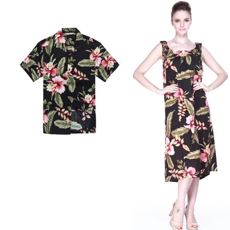 Couple Matching Hawaiian Luau Outfit Aloha Shirt Melani Dress in Black Rafelsia Men XL Women - Hawaiian Womens Clothes