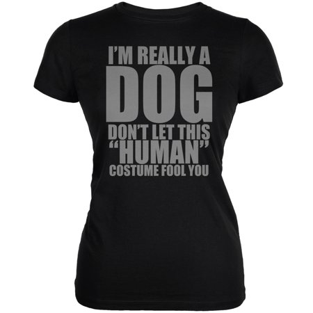 Halloween Human Dog Costume Black Juniors Soft T-Shirt