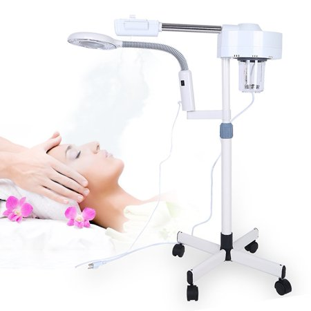 TMISHION Professional Adjustable 3X Facial Steamer Magnifying Lamp with Rolling Floor Stand for Spa Salon Beauty Skin