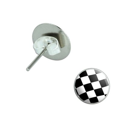 Checkered Flag Pierced Stud Earrings