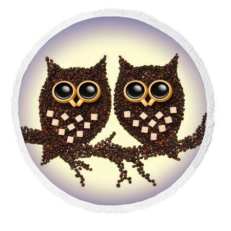 Gckg Animal Beach Towel Funny Coffee Owl Sitting Branch At Night Blanket