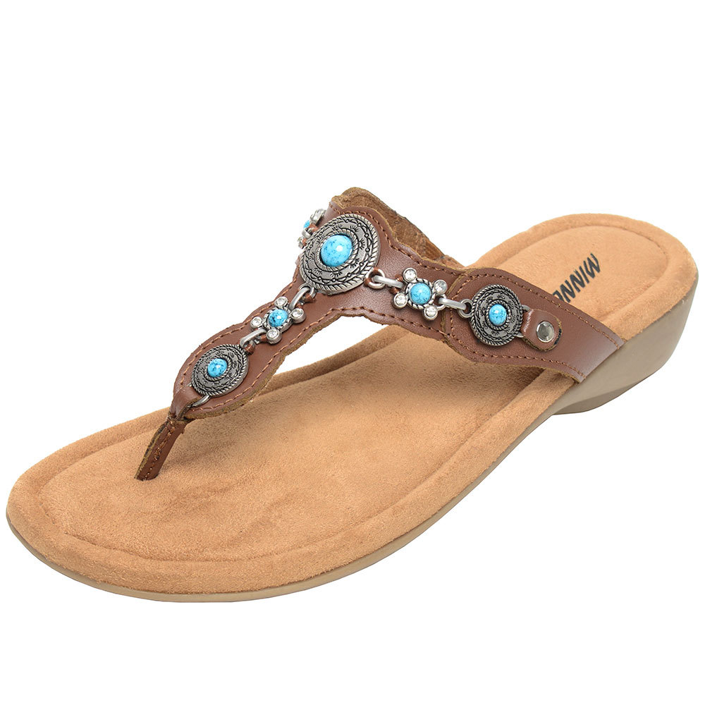 Minnetonka Womens Boca Thong lll Whiskey Leather Sandals by MINNETONKA