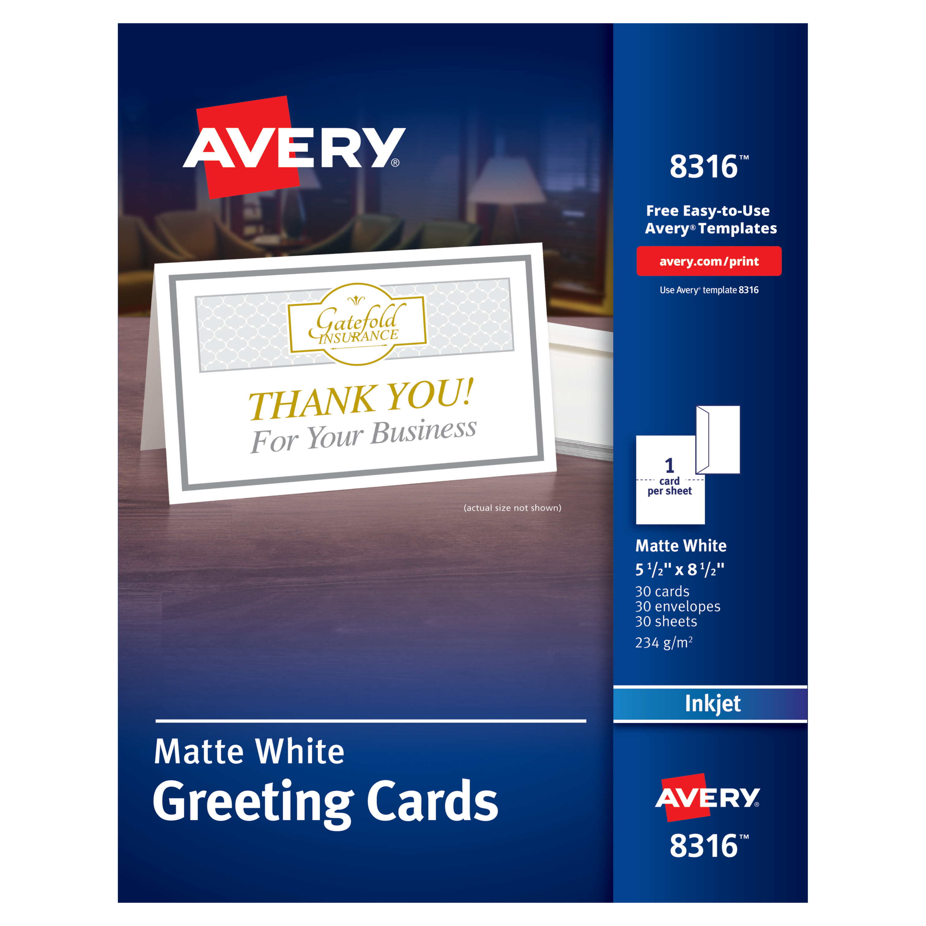 Avery Half-Fold Greeting Cards, Inkjet, 5 1/2 x 8 1/2, Matte White, 30/Box w/Envelopes