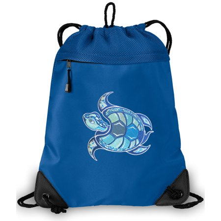 Sea Turtle Cinch Backpack Turtle Drawstring Bag String Pack Mesh & Microfiber - Two Sections](Mesh Drawstring Backpack)