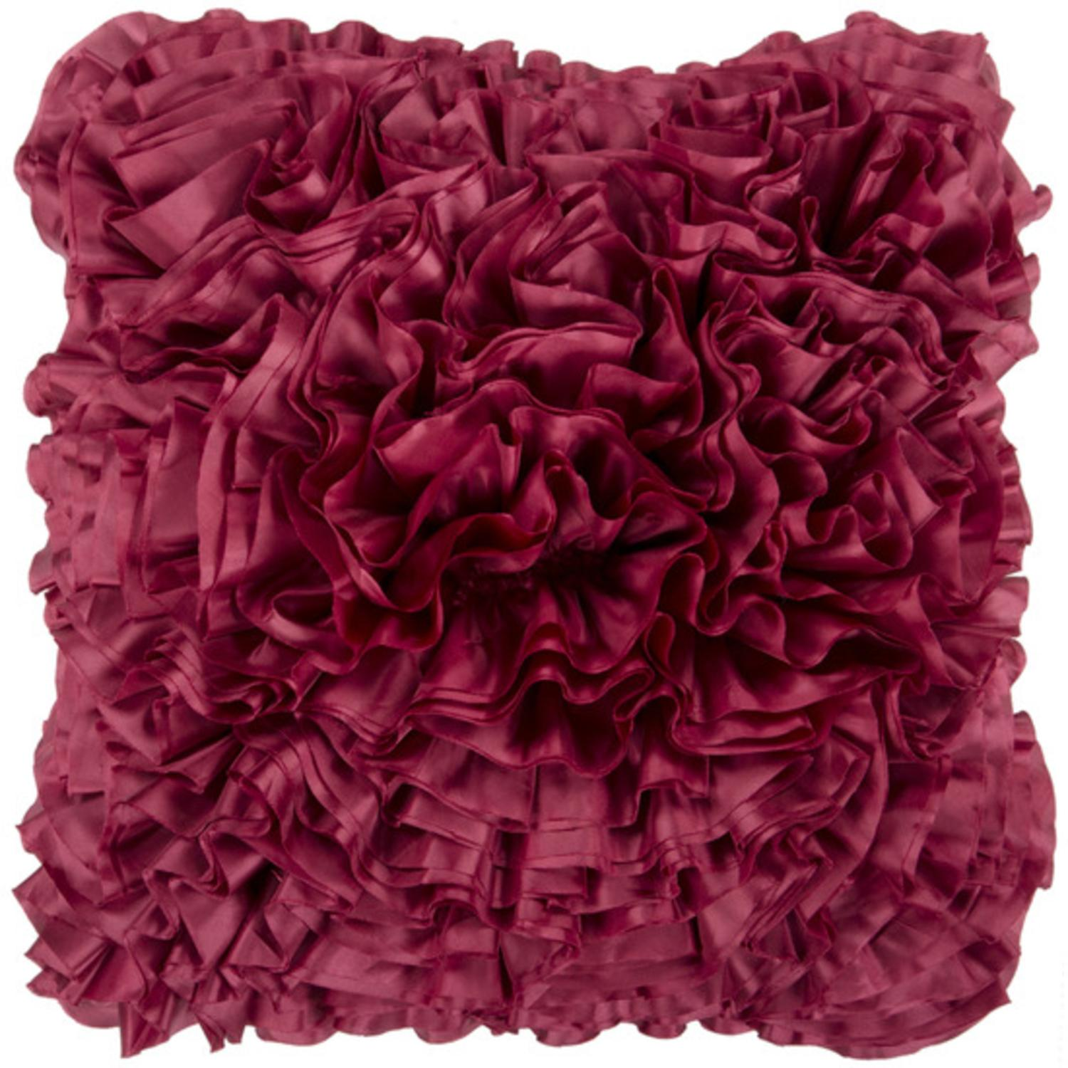 "22"" Cerise Red Lush Ruffle Decorative Throw Pillow"