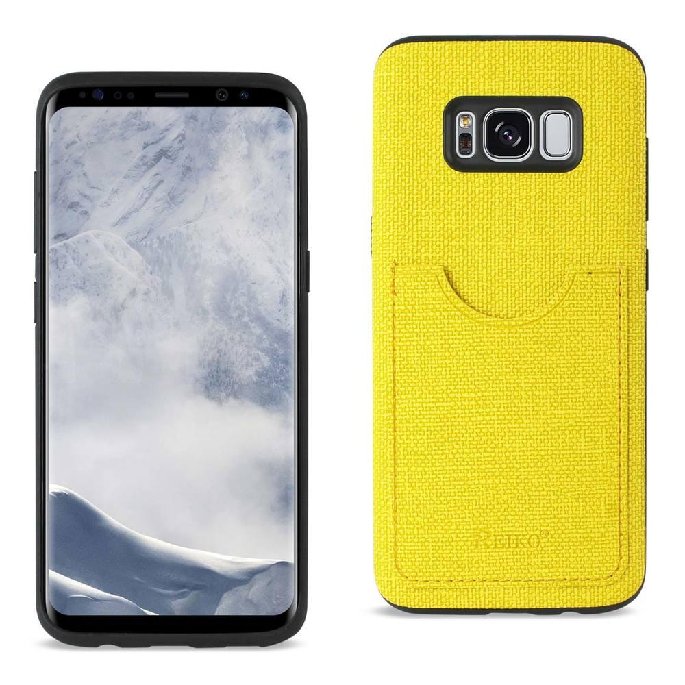 Reiko REIKO SAMSUNG GALAXY S8/ SM ANTI-SLIP TEXTURE PROTECTOR COVER WITH CARD SLOT IN YELLOW