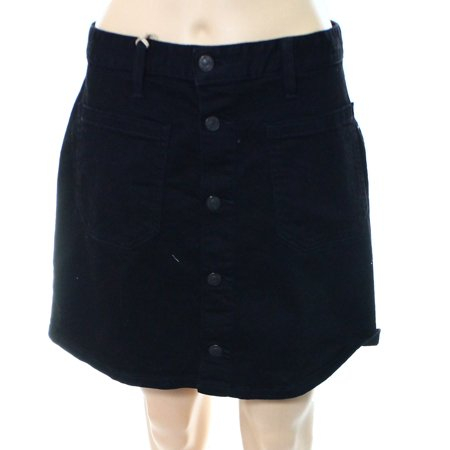 Denim & Supply Ralph Lauren NEW Black Womens 32 A-Line Button-Down Skirt