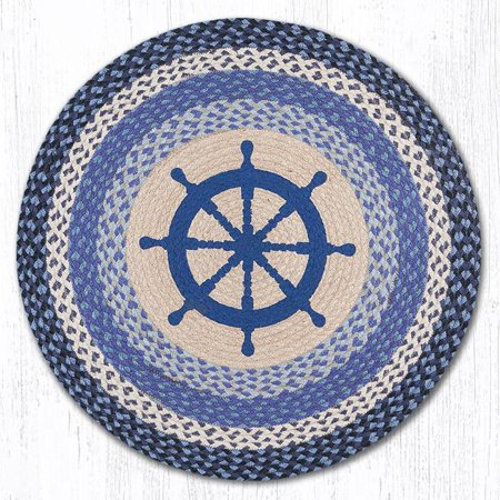 Earth Rugs RP-434 Nautical Wheel Round Patch 27