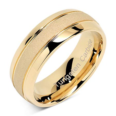 Tungsten Rings For Men Women Gold Wedding Band SandBlasted Finish Dome Edge Sizes 8-16