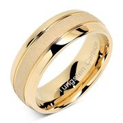 Tungsten Rings For Men Women Gold Wedding Band SandBlasted Finish Dome Edge Sizes 8-16