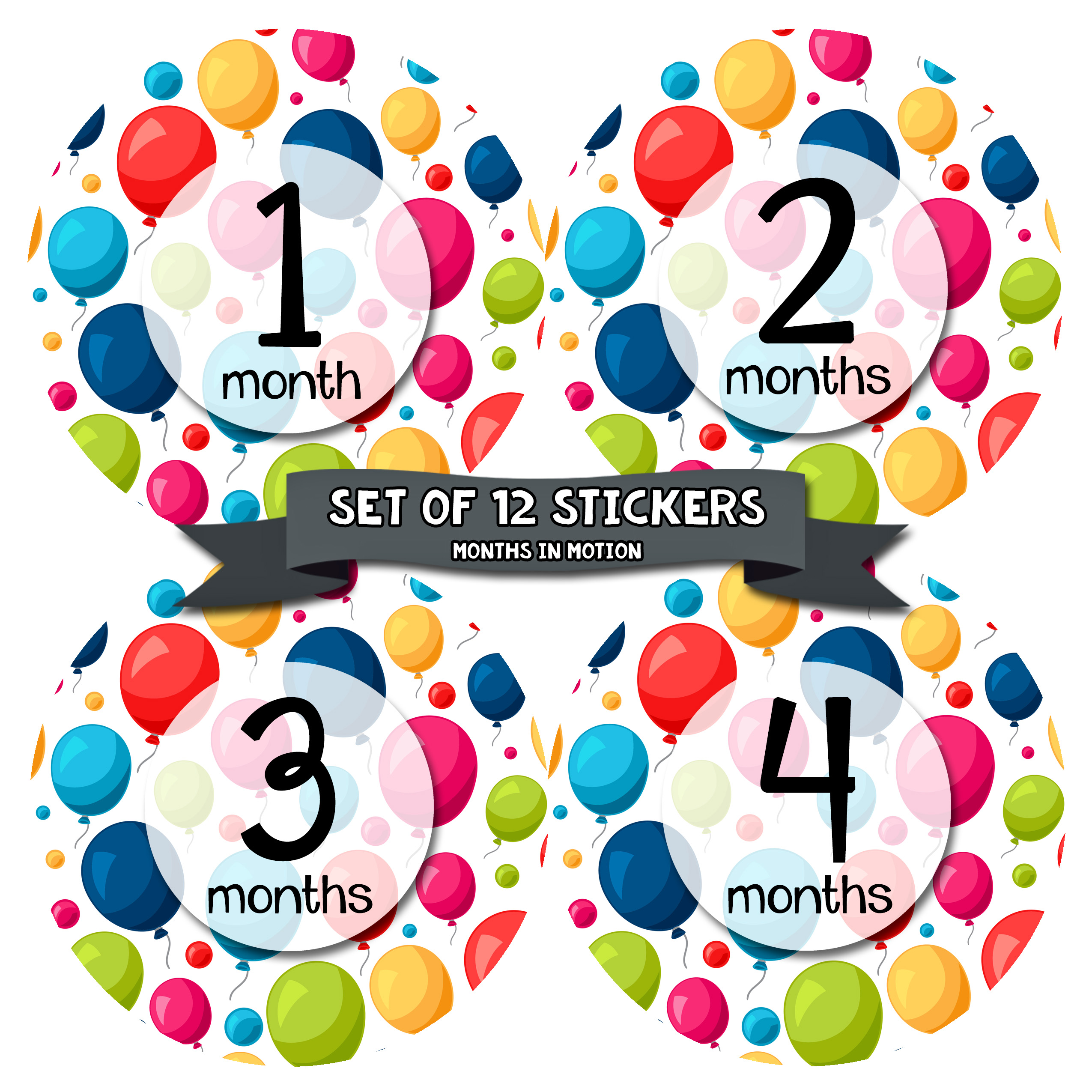 Monthly Baby Stickers by Months In Motion | 12 Month Milestone Sticker for Newborn Babies Balloons (Style 1155)
