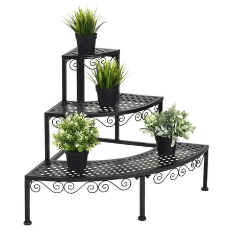 Birdcage Plant Stand - Ironwork Fan-shaped 3-tier Pot Plant Stand, Stair-step Design to  Accommodate More Greenery