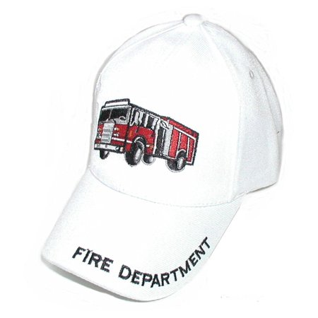 Child's Fire Fighter / Fireman Department Cap Hat W/ 3-D Truck Engine - White, cotton, polyester By Wang