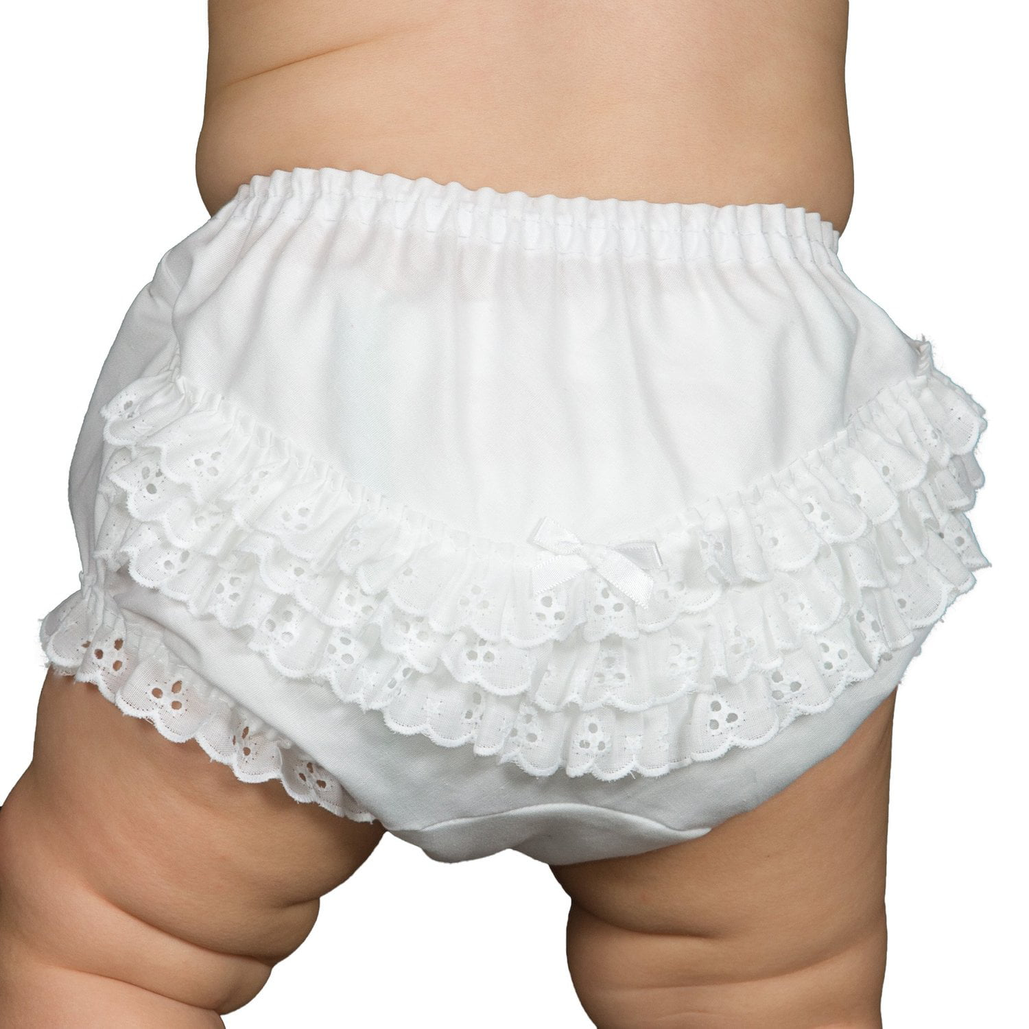 Carriage Boutique Baby Girl Knitted Panty Diaper Covers White Bloomers with Ruffles
