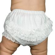 Christening Day Baby Girls White Batiste Rumba Diaper Cover Bloomers