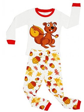 Elowel Girls Chipmunk 2 Piece Pajama Set 100% Size 6