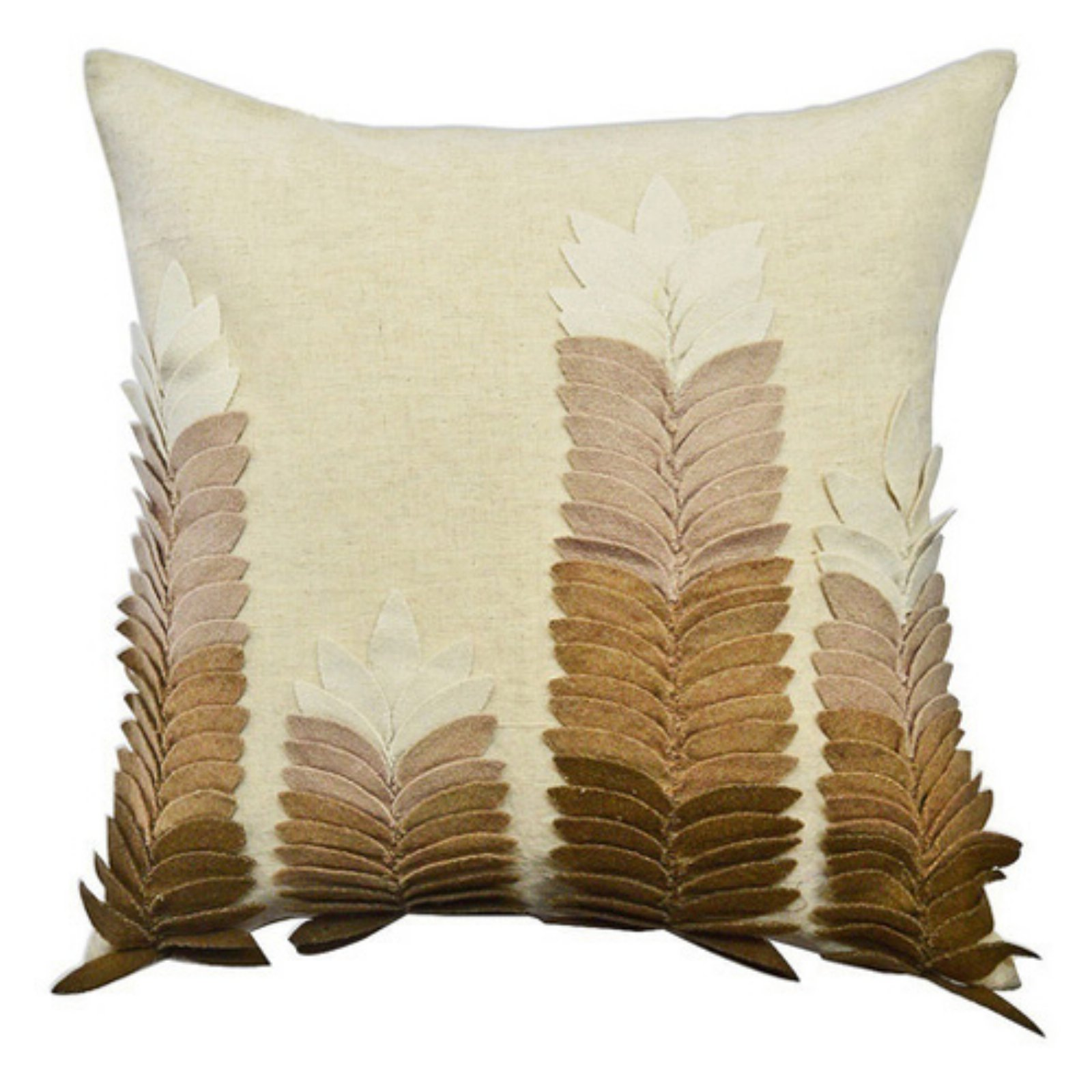 Image of A1 Home Collections Beige and Brown Felt Leaves Applique Throw Pillow