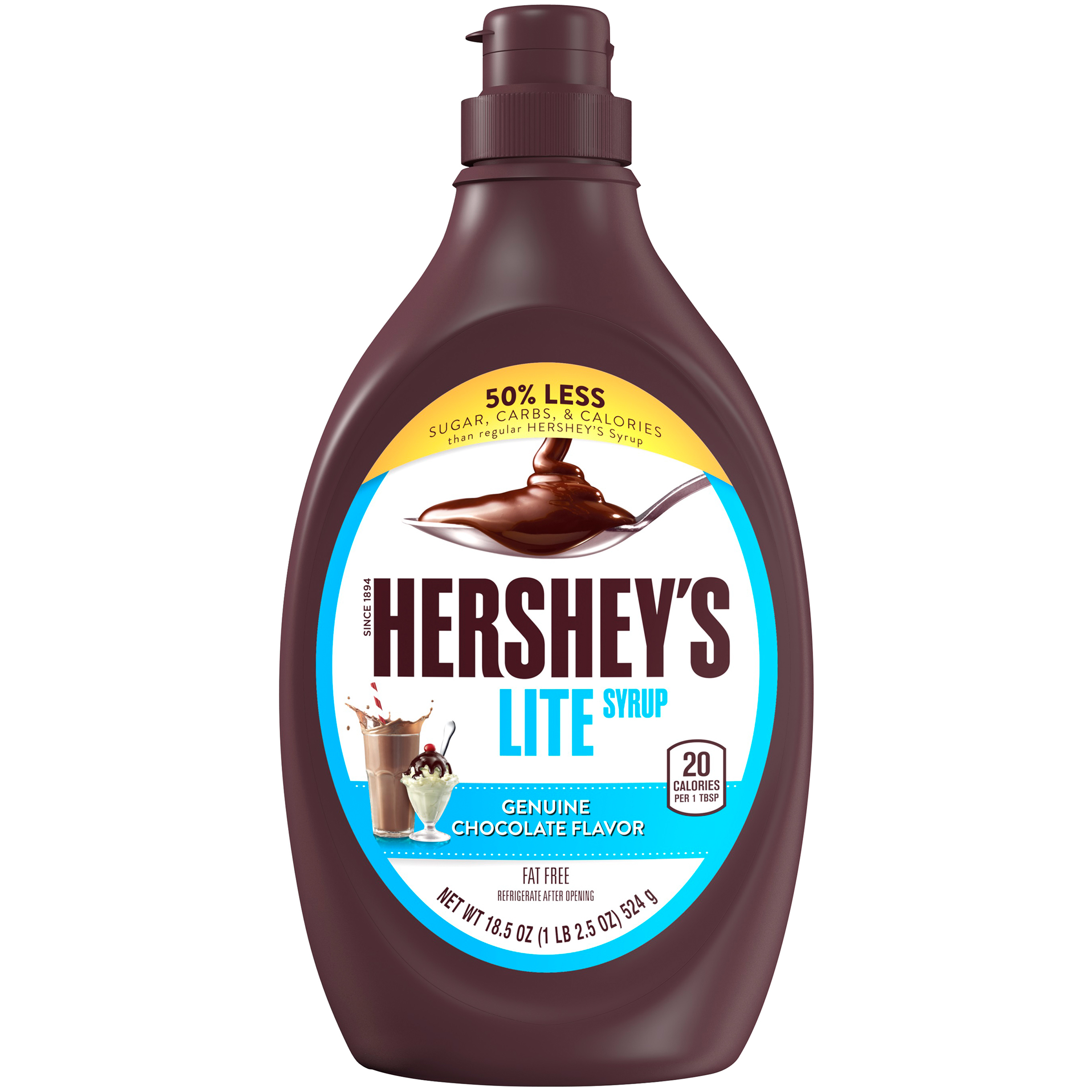 HERSHEY'S Lite Chocolate Syrup, 18.5 oz