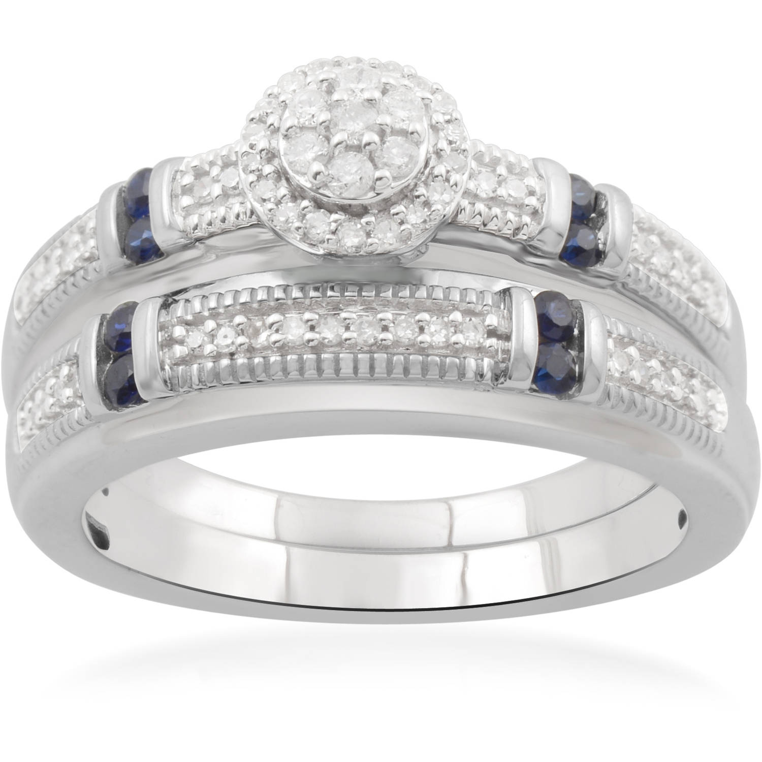 Forever Bride 1/5 Carat T.W. Diamond and Blue Sapphire Sterling Silver Bridal Set