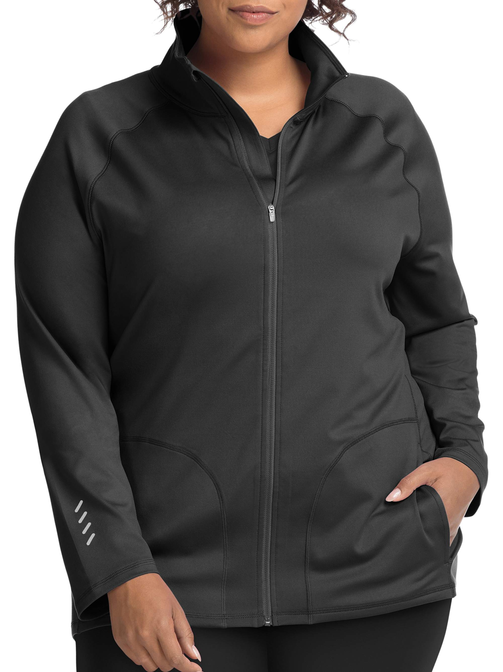 Just My Size Active Full Zip Mock Neck Jacket