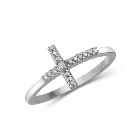 Accented Cross Ring (White Diamond Accent Sterling Silver Cross)