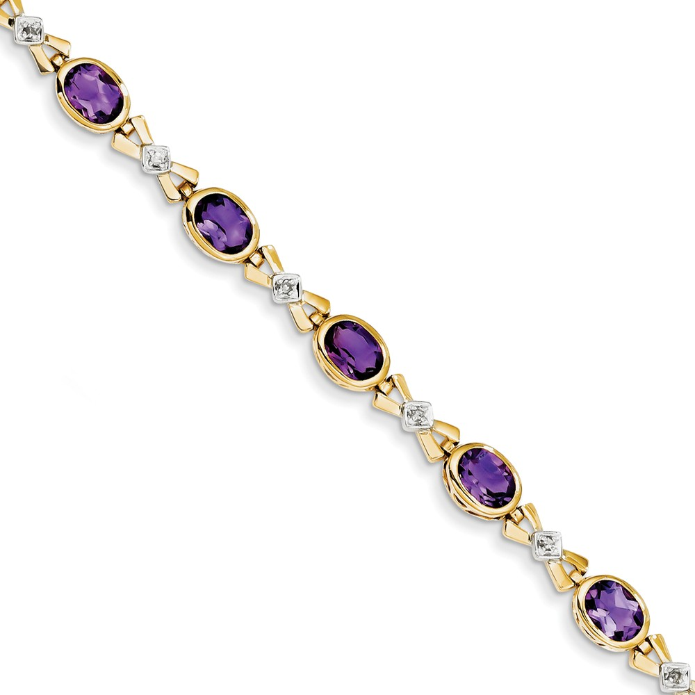 "14K Yellow Gold (0.08cttw) Diamond and Purple Amethyst Bracelet -7"" (7in x 6.5mm) by"