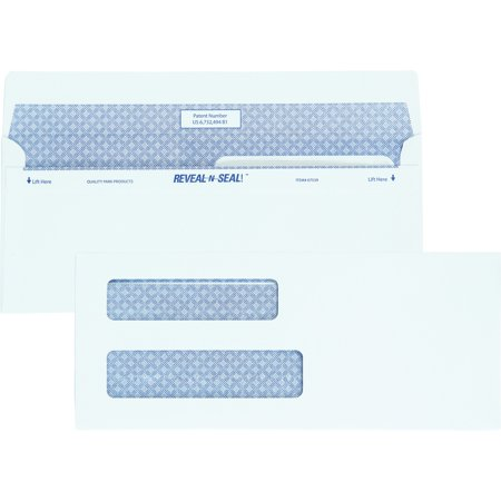 Double Window Statement Envelopes - Quality Park, QUA67539, Reveal-n-Seal Double Window Envelopes, 500 / Box, White