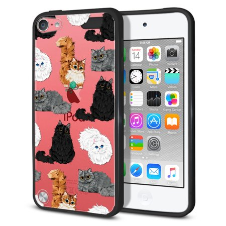 FINCIBO Slim TPU Bumper + Clear Hard Back Cover for Apple iPod Touch 5, Fluffy Haired
