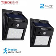 20 LED 320lm Outdoor LED Solar Motion Sensor Lights, Wireless Outdoor Wall Lights, Black, Pack of 2