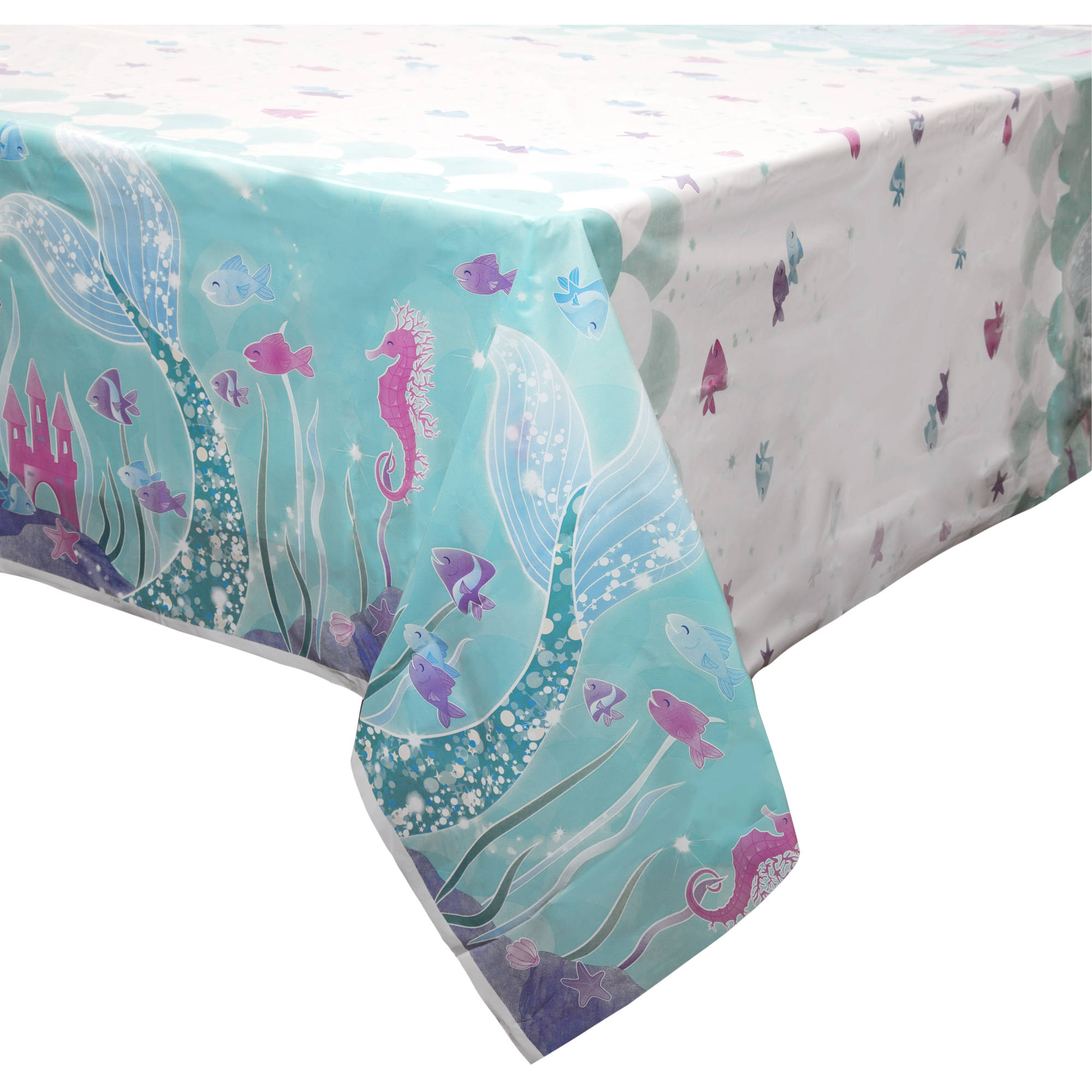 "Plastic Mermaid Table Cover, 84"" x 54"""