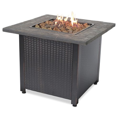 Round Rock Fire Pit - Endless Summer Decorative Push Button Outdoor LP Gas Fire Pit + Rocks | GAD1401M