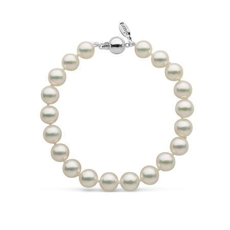 White Akoya Pearl Necklace Bracelet (8.0-8.5 mm Natural White Hanadama Akoya Pearl Bracelet)