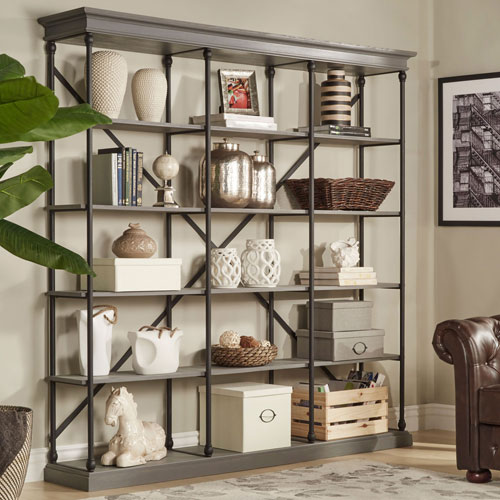 Lubeck Worn Grey Wide Bookshelf by